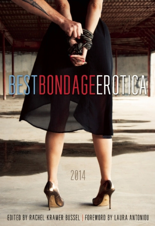 "A book cover, ""Best Bondage Erotica 2014"", showing a woman in high heels with her back turned and wrists tied."
